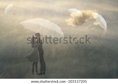 couple in love under an umbrella, texture paper, vintage, romance,  man and woman in love - stock photo