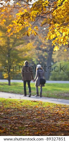Couple in love walking through autumn setting - stock photo