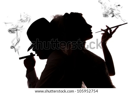 couple in love with the cigarette smoke on a white background