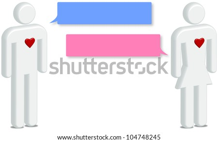 Couple in On line Dating Concept, internet love relationship - stock photo