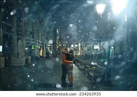 couple in Paris in the autumn - stock photo