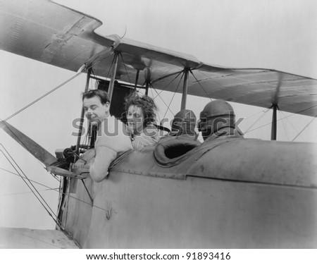 Couple in Plane - stock photo