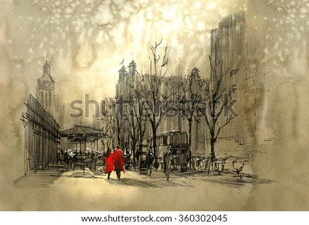 couple in red walking on street of city,freehand sketch - stock photo