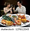 couple in restaurant - stock