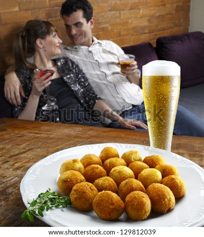 couple in restaurant - stock photo
