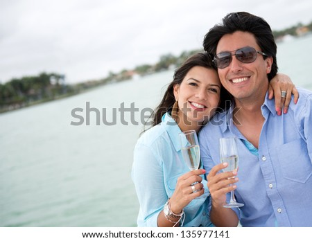 Couple in romantic getaway on a yacht