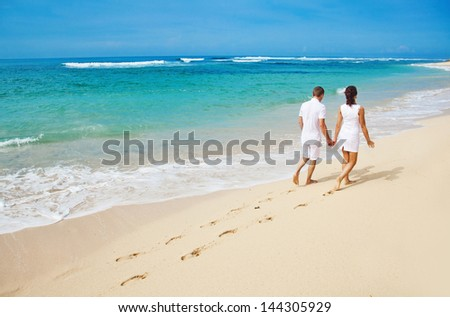 couple in summer - stock photo