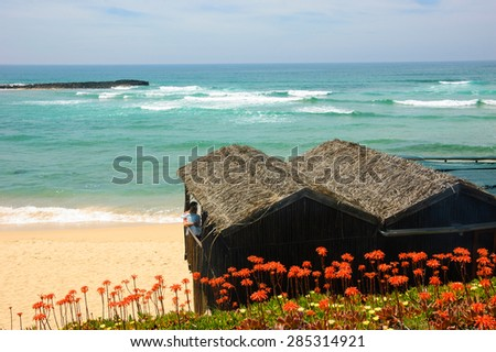 Couple in the beach bungalow cafe with ocean view. Algarve, South of Portugal. Blooming Aloe Vera cactus flowers at foreground. - stock photo