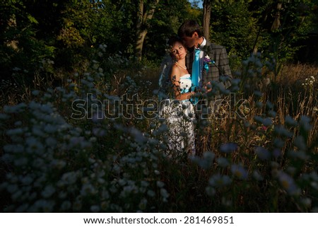 couple in the herbs on the background evening forest