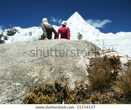 Couple in the mountains - stock photo