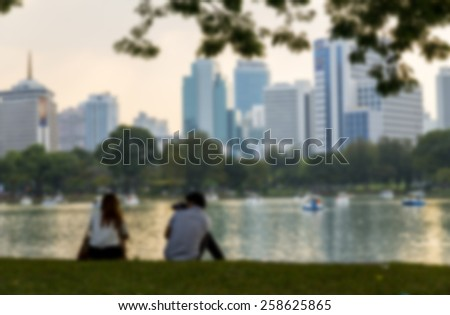 Couple in the park in Blur style - stock photo