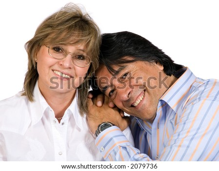 couple in their fourties over a white background