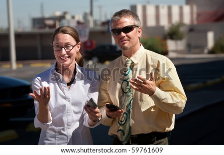 Couple is amazed at what they see. - stock photo
