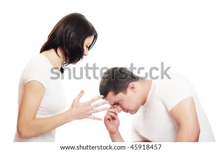 couple isolated on white - stock photo