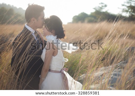Couple kissing amidst meadows, hot and dry. Romantic couples - stock photo