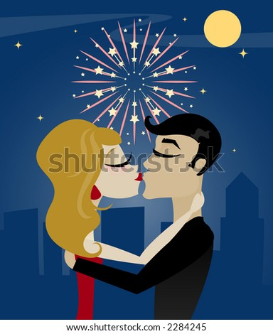 Couple kissing at midnight on New Year's Eve, with moon, stars and fireworks above the city - stock photo