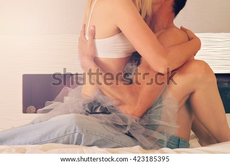 Couple kissing in bed. Love, Sex, Passion, Relationship, concept - stock photo