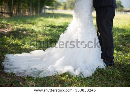 couple kissing outdoors at the park,Close Up view married couples kissing.