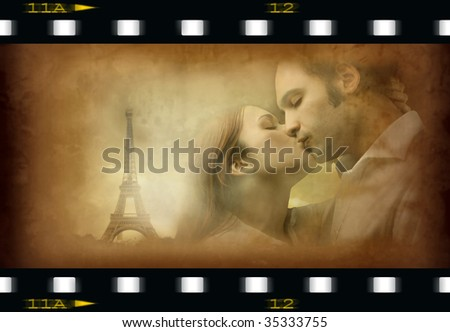 couple kissing with tour eiffel on old movie frame - stock photo