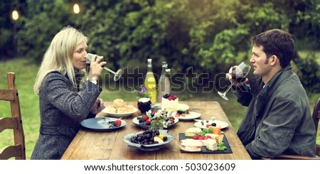 Couple Love Drinking Wine Concept