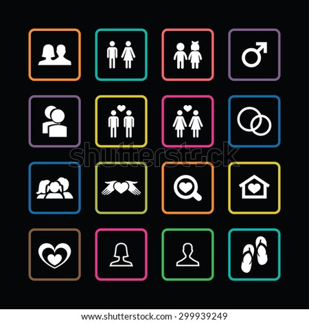 couple, love icons universal set for web and mobile