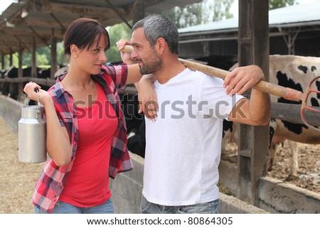 Couple making eye contact - stock photo