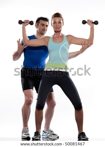 couple, man and woman doing workout on white isolated background - stock photo