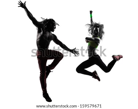 couple man and woman exercising dancing  in silhouette  on white background - stock photo