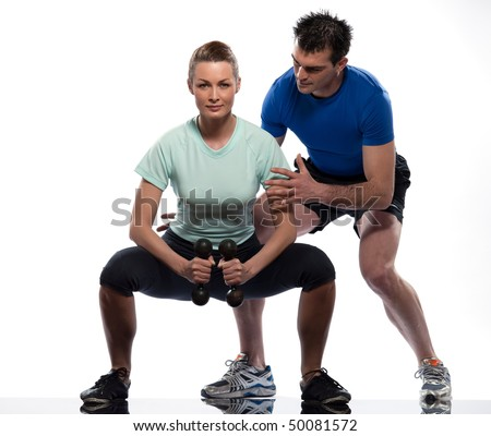 couple man and woman exercising workout on white background - stock photo