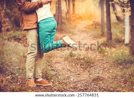 Couple Man and Woman hugging in Love Romantic relationship Lifestyle concept Outdoor  with nature on background Fashion trendy style - stock photo