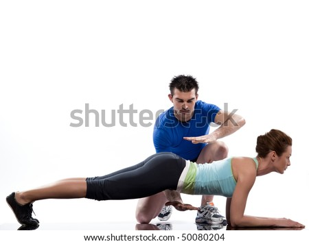 couple, man and woman on Abdominals workout Basic Plank posture on white background - stock photo