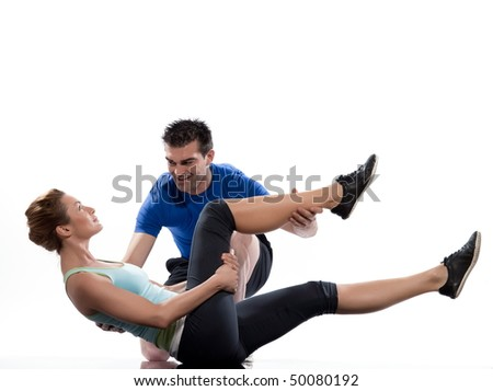 couple, man and woman on Abdominals workout posture on white background