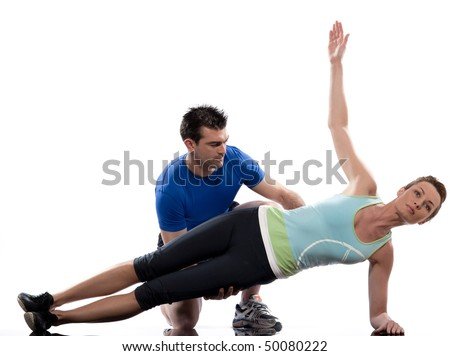 couple, man and woman on Abdominals workout posture on white background - stock photo