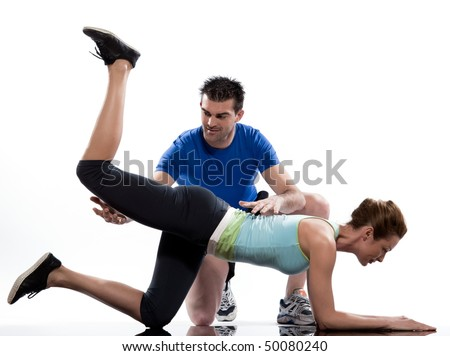 couple, man and woman on Abdominals workout posture on white background. Plank Bent Leg Raise - stock photo