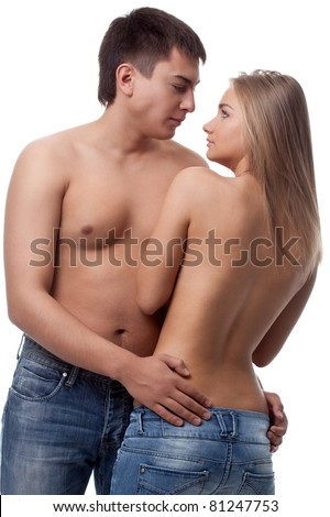 couple man and woman wearing jeans over white