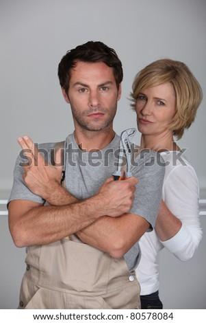 couple miming secret agents - stock photo