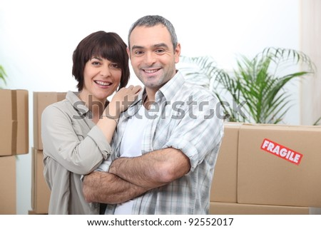 Couple moving in - stock photo