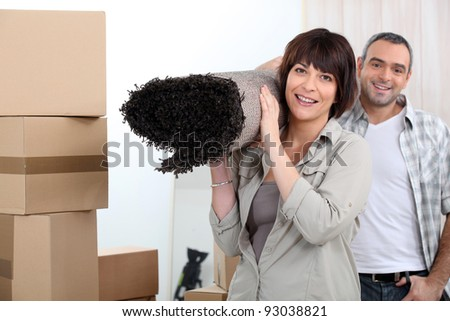 Couple moving out. - stock photo