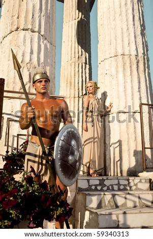 Couple near the columns - stock photo