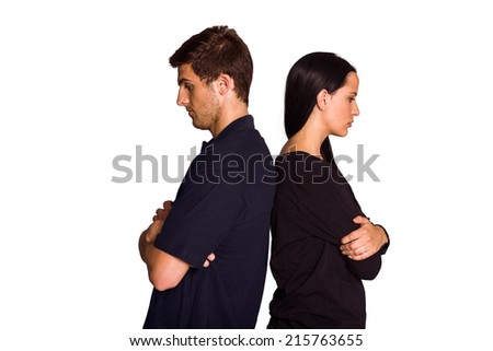 Couple not talking after argument on white background - stock photo