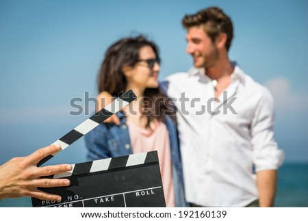 couple of actors on the air - stock photo
