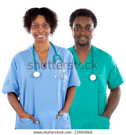 Couple of African Americans doctors a over white background - stock photo