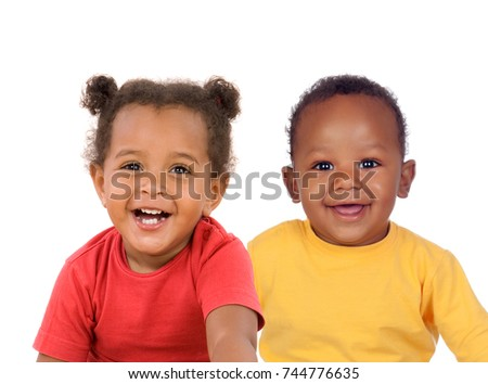 Couple of Afro American children isolated on a white background