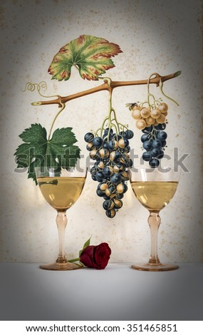 couple of antique glasses of white wine with background grape cluster decorated, romantic moment with red  rose,photo with vignetting, natural light, vertical photo - stock photo