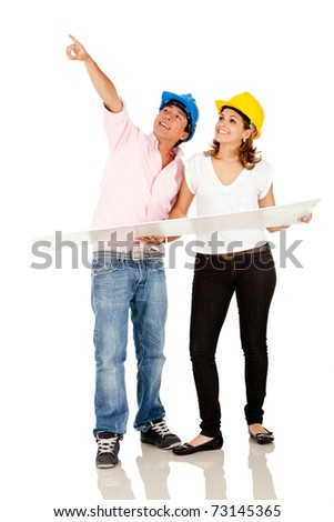 Couple of architects with blueprints or a mock-up - isolated over white - stock photo