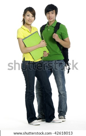 Couple of asian students. Theme : friends, relations - stock photo