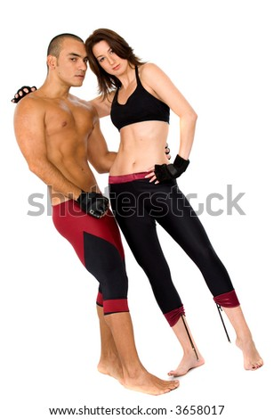 couple of athletes over a white background