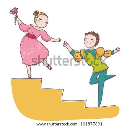 couple of ballet dancer. Cartoon illustration - stock photo