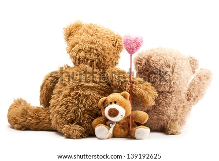 couple of bears embraced and hold heart