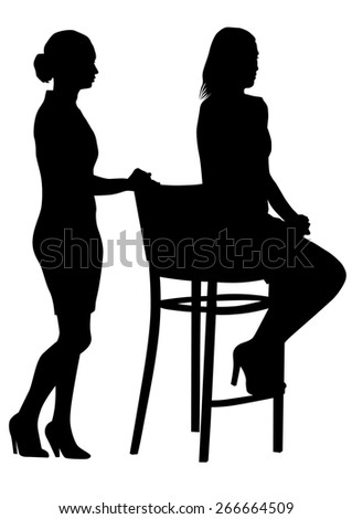 Couple of beauty women in suit on white background - stock photo